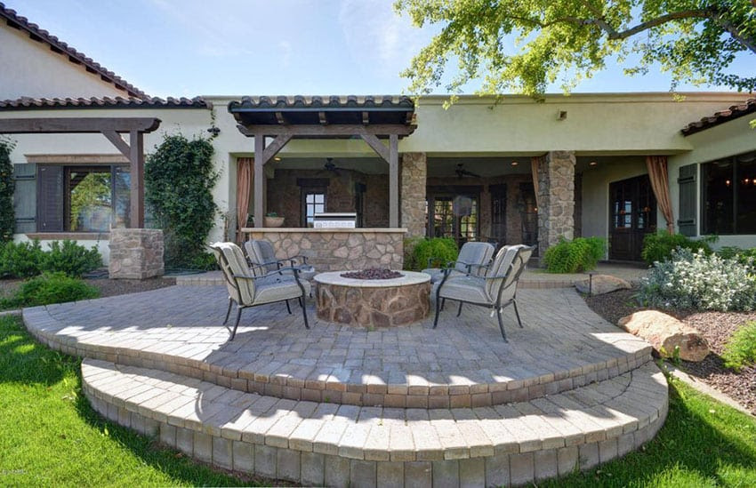 two level paver patio with firepit