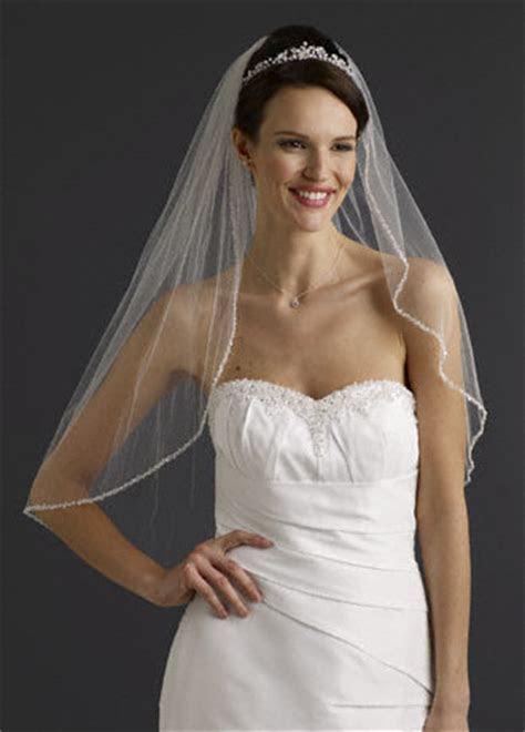 Bridal Elbow Length Veil, 1 Tier with Beaded Edge Style