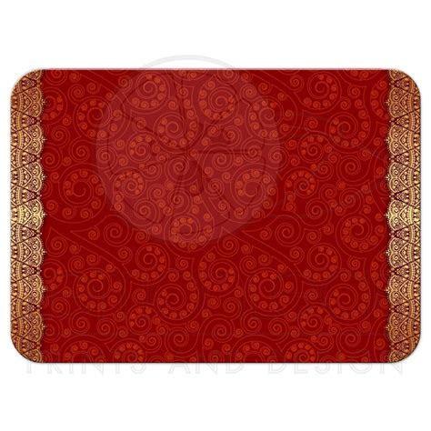 Wedding RSVP Card   Crimson Indian Paisley Golden Gilded Edge