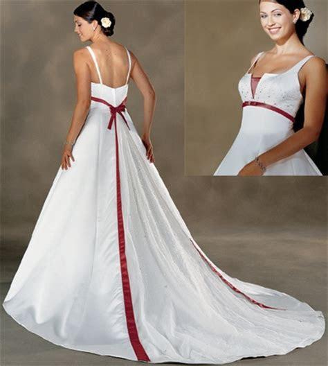 Formal Wedding Dresses: Red Color Accent Wedding Dress