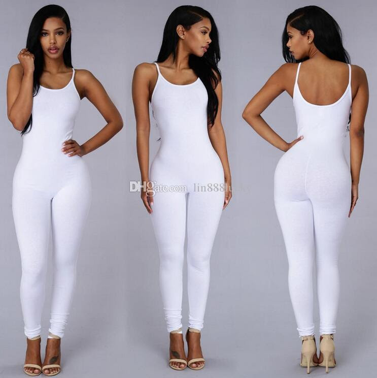 All white bodycon jumpsuit pants for women online kissing