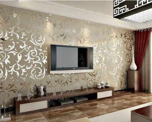 Designer Living Room Wallpaper Tv Unit Wallpaper Manufacturer From