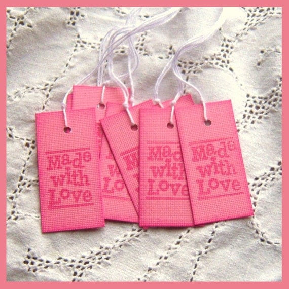 """MADE With LOVE Hang Tags - Pink, Stamped on the front and back, Hearts, 1"""" x 2"""""""