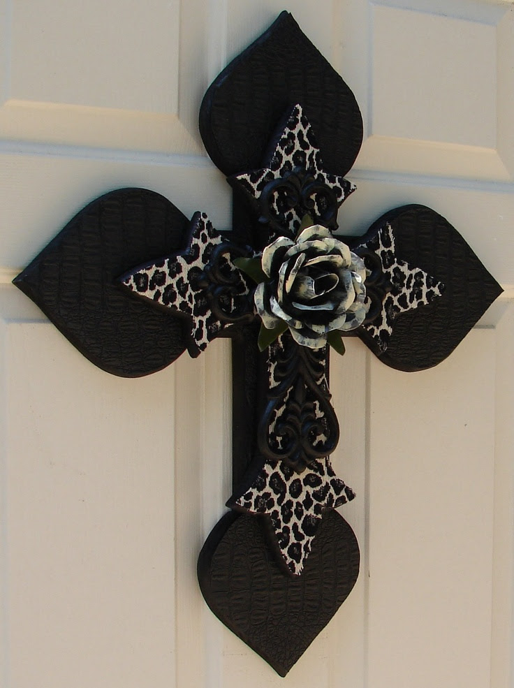 DC038 Black and White Stacked Cross with Antiqued White Rose. $85.00, via Etsy.