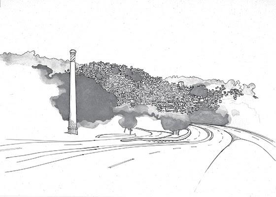 Chaminé do Catumbi e o Morro da Coroa  (Foto: Cássio Loredano )