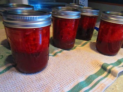 Strawberry jam before shaking