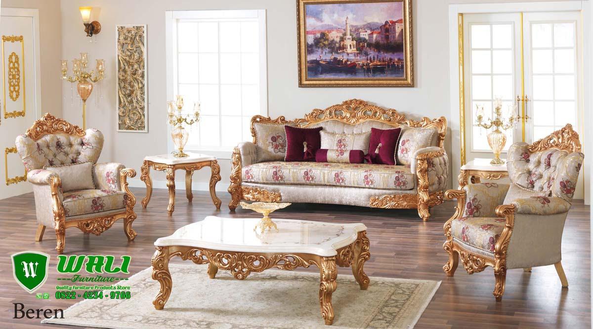 Set Kursi Tamu Sofa Mewah Beren Model Eropa Klasik Modern