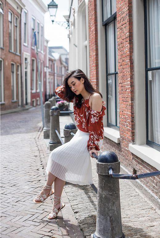 Le Fashion Blog Floral Cold Shoulder Blouse White Pleated Skirt White Sandals Via Tlnique