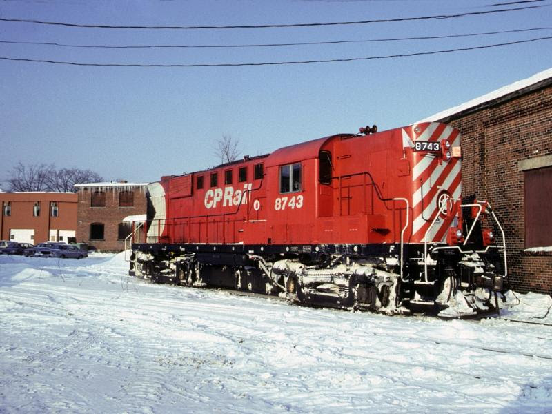 CP 8743 in Fredericton, slide by Greg Brewer