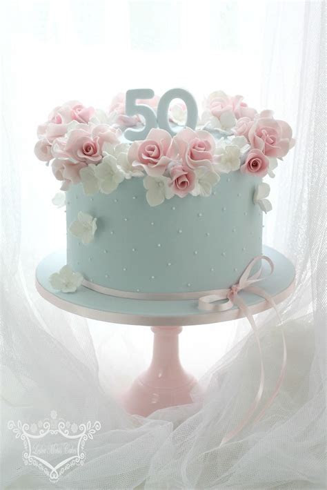 50th Birthday Cake   50th birthday cake order. Rose and