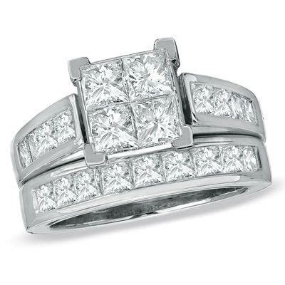 3 CT. T.W. Quad Princess Cut Diamond Bridal Set in 14K