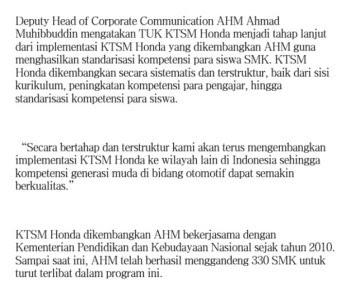 AHM Astra Honda Motor Meresmikan Tempat Uji Kompetensi SMK Di Jambi