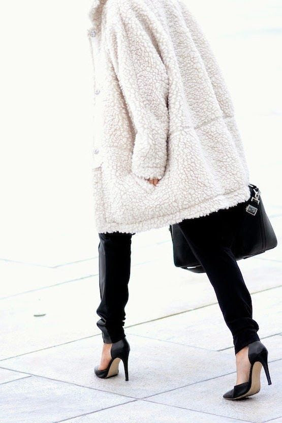 Le Fashion Blog Fall Style White Longline Teddy Coat Leather Satchel Black Denim Dorsay Leather Pumps Via Hippie Hippie Milkshake