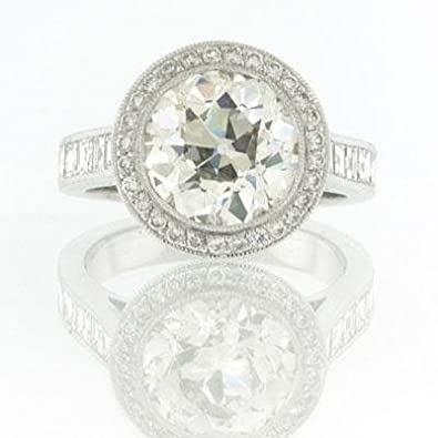 7.09ct Antique European Round Cut Diamond Ring