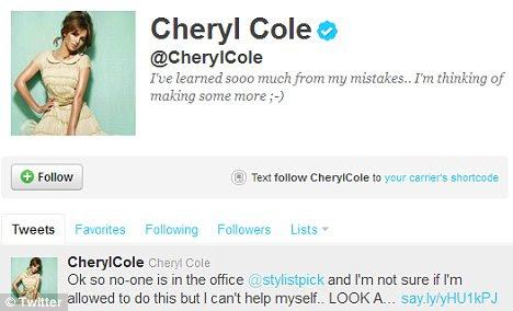 Aprendendo com seus erros: Cheryl twittou três fotos dos sapatos que ainda não foram colocados à venda
