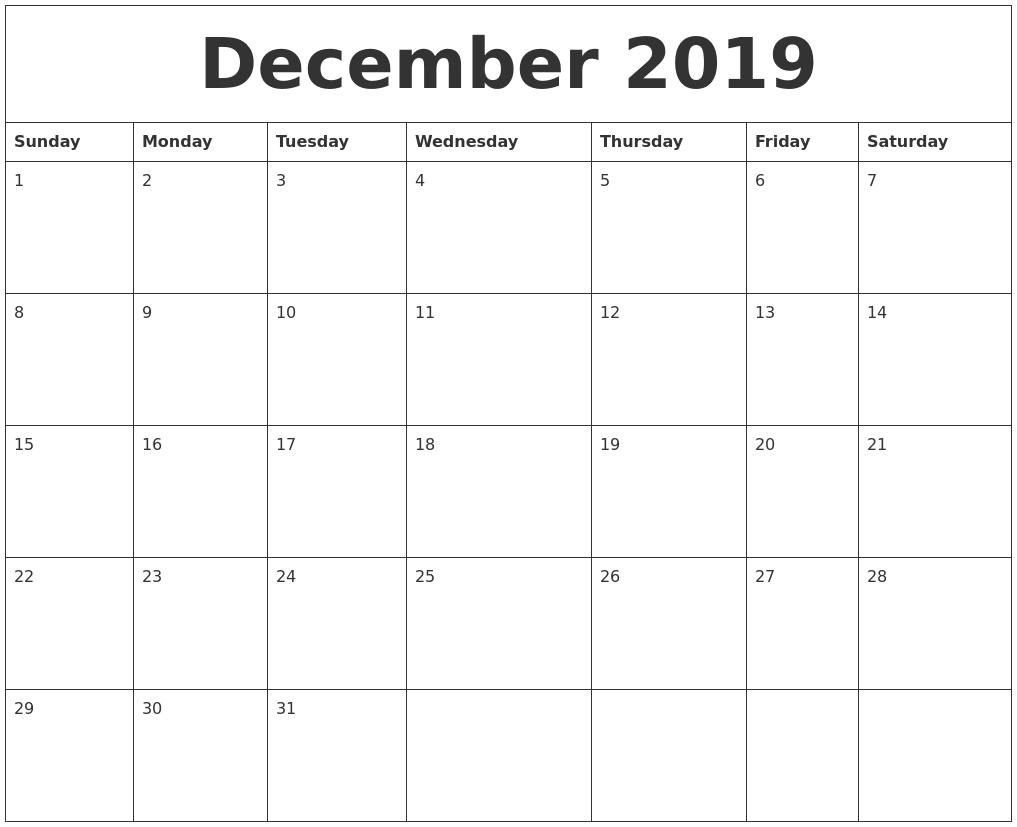 december 2019 free monthly calendar template full weekday