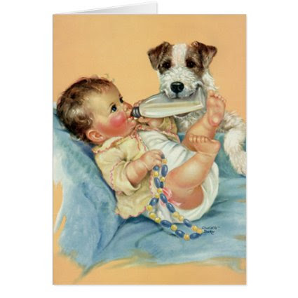 Vintage Cute Baby Boy Bottle Puppy Dog Thank You Card