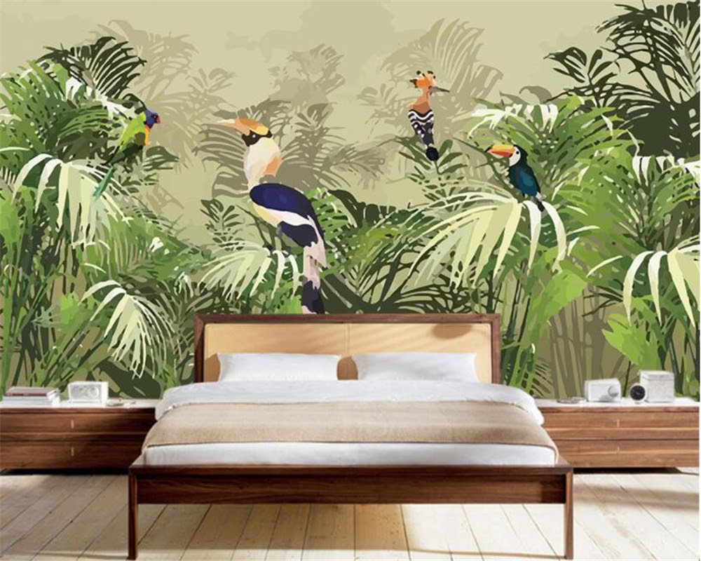 Beibehang D Wallpaper Retro Tropical Rainforest Parrot