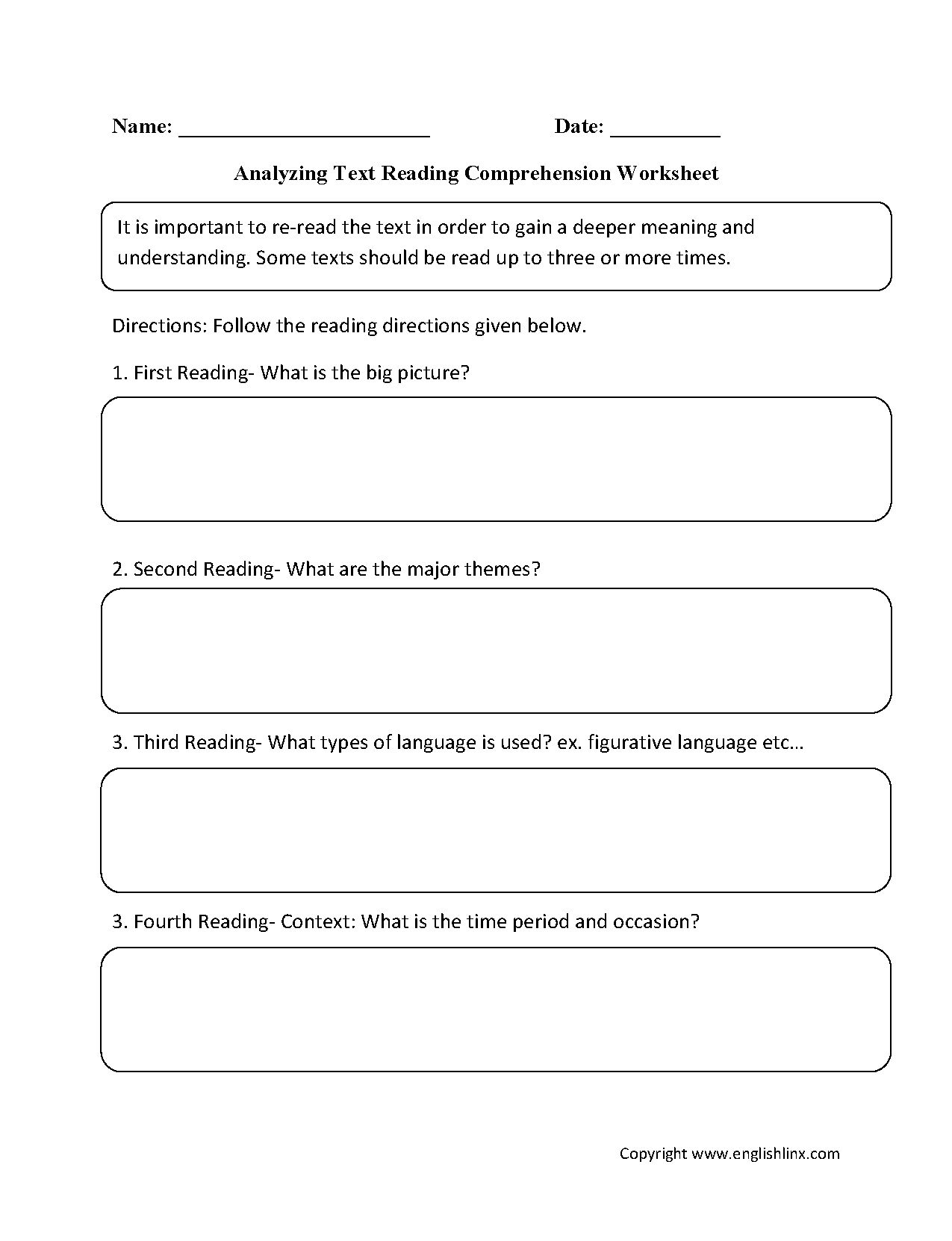 Reading Prehension Worksheets