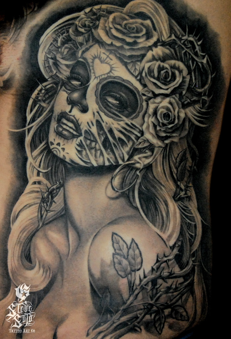 Day Of The Dead Pin Up Tattoo By Steve Soto Tattoomagz