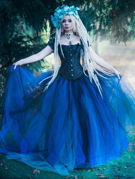 Romantic Gothic Cap Sleeves Blue Corset Long Prom Party