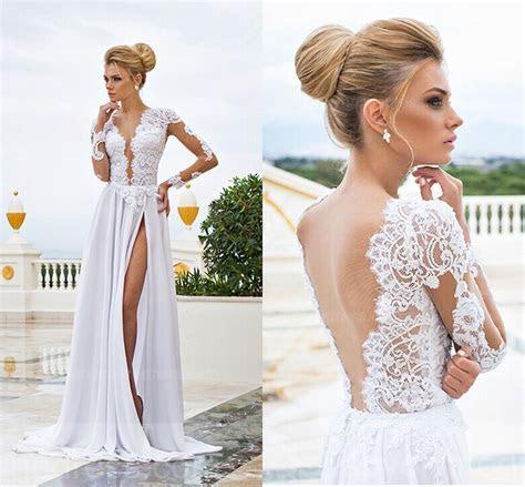 Sexy Long Sleeve V Neck Wedding Dresses 2019 A Line Split