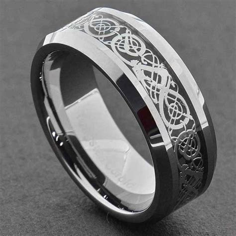 8mm Tungsten Silver Dragon Celtic Scroll Inlay Ring Men's