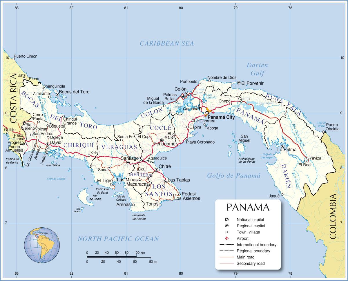 panama administrative map