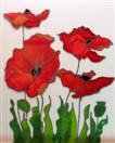 'Quartet of Poppies' by Karla Nolan, framed glass painting