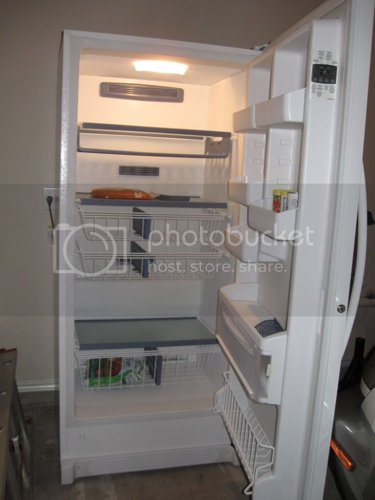 garage upright freezer interior