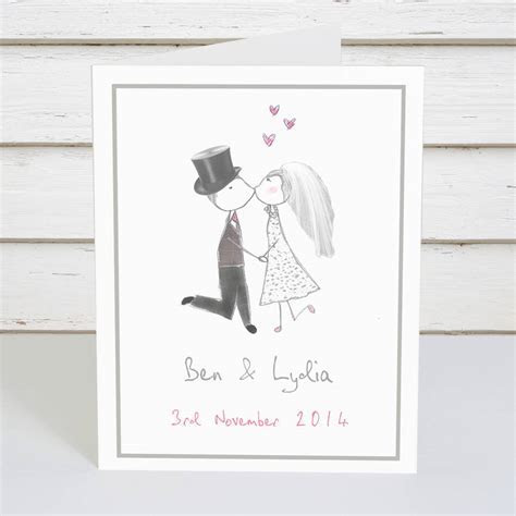 personalised bride and groom wedding card by violet