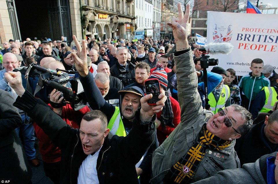 Protesters march during the first rally in Britain from the anti-Islam group Pegida, with around 400 gatheringin Newcastle