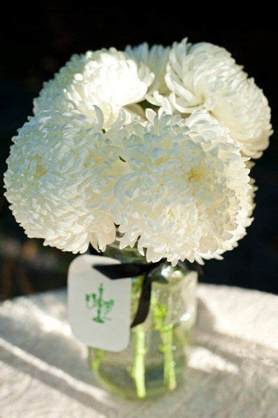white mason jar centerpiece Flowers  white football mums