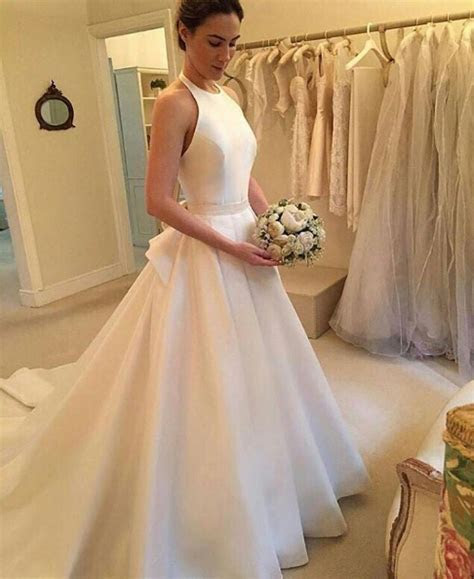 Simple Open Back Halter Neckline Ivory Satin Wedding Dress