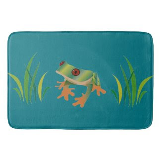 Bathmat with Tree Frog Art Bath Mats