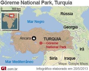mapa acidente balão turquia (Foto: Arte/G1)