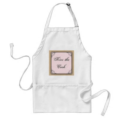 Cocoa brown and pink wedding aprons by perfectpostage