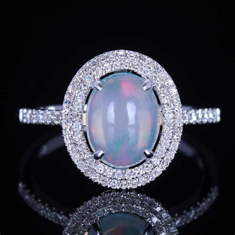 10K Solid White Gold Estate Natural Australian Opal and
