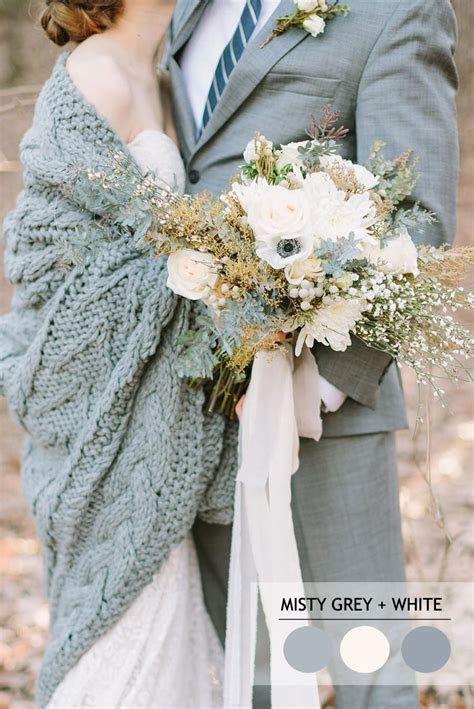 Misty grey and white winter wedding colour inspiration