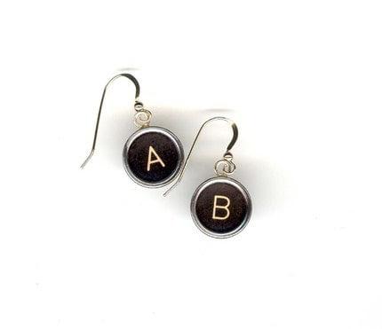 Typewriter Key Earrings
