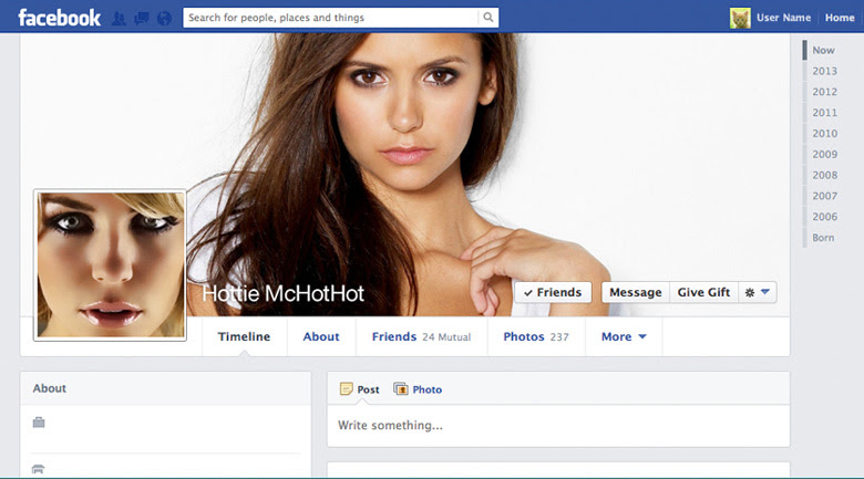 Fake Facebook Profile Example - Brands on Digital