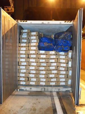 Drogas estavam em navio que ia para a Europa (Foto: Divulgação/Polícia Federal)