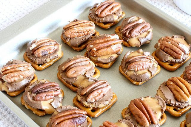 Tried one of these today... amazing! Turtles made with pretzels, rolos and pecans.