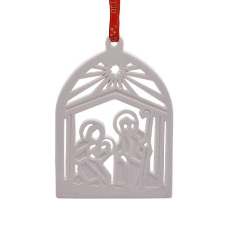 Nativity Flat Christmas Ornament 2017   Belleek Porcelain