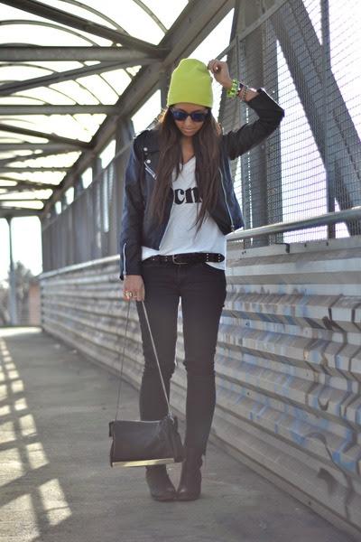 Black-h-m-boots-yellow-h-m-hat-black-biker-jacket-romwe-jacket