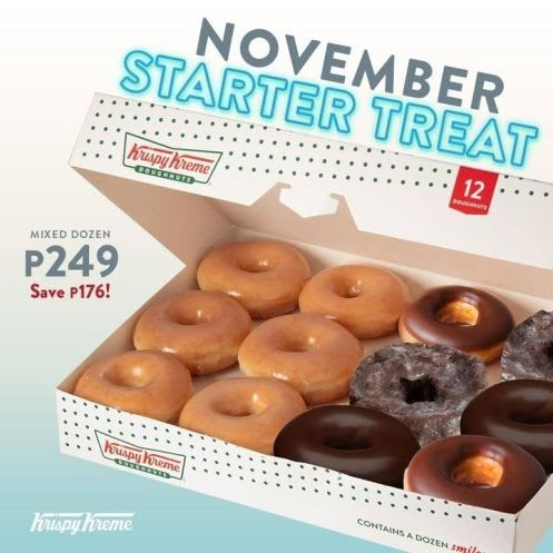 Get Krispy Kreme 6 Original Glazed and 6 select Pre-assorted Doughnuts for only P249