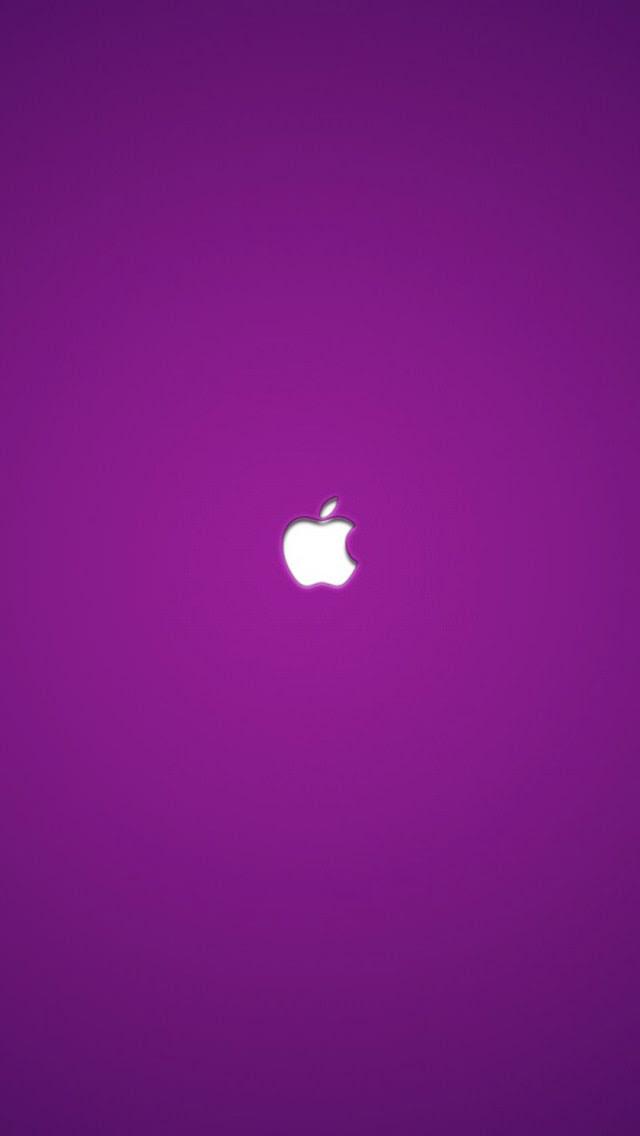 シンプルな紫アップルロゴ Iphone5 スマホ用壁紙 Wallpaperbox