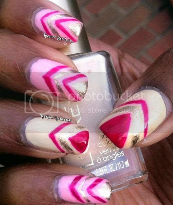 Lacquer Lockdown - L'Oreal Versalles Romance, L'Oreal The Palace Life, L'Oreal Powder Puffs, Orly Luxe, freehand nail art, chevron nail art, pink and gold nail art, nail art ideas