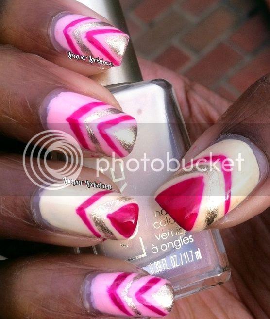 Lacquer Lockdown - L'Oreal Versalles Romance, L'Oreal The Palace Life, L'Oreal Powder Puffs, Orly Luxe, freehand nail art, chevron nail art, pink and gold nail art, nail art ideas