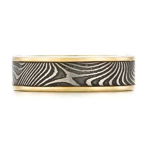 Damascus Steel and Yellow Gold Wedding Band #102940